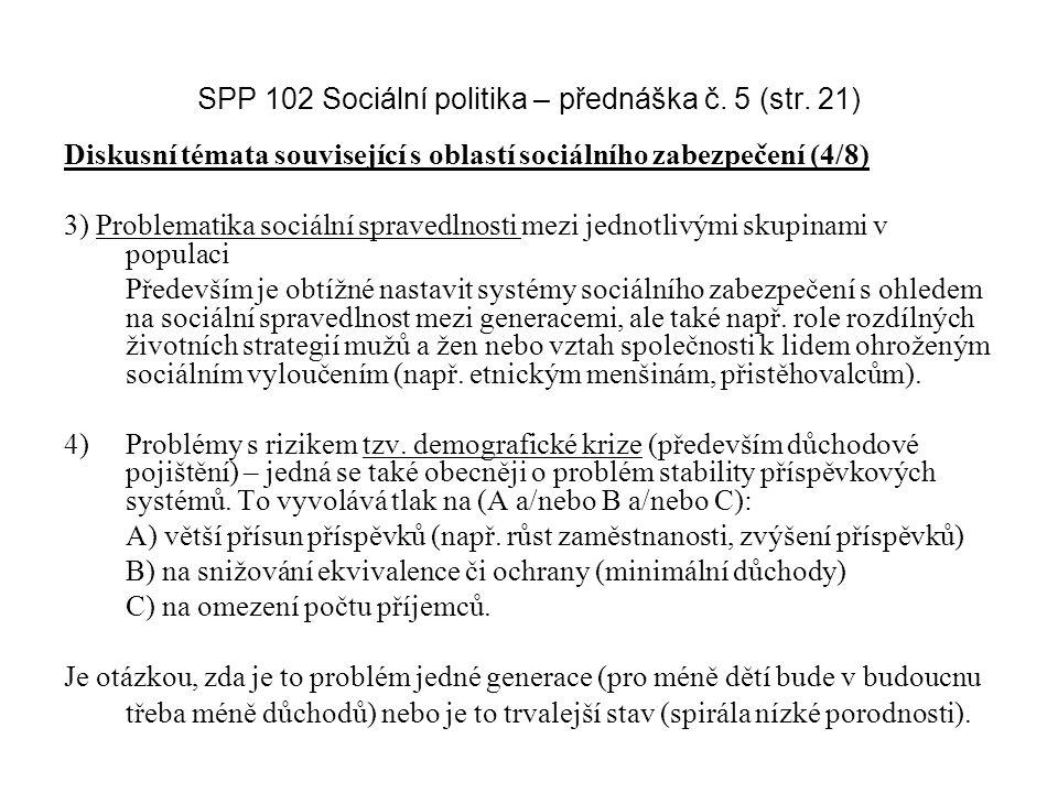 SPP 102 Sociální politika – přednáška č. 5 (str. 21) Diskusní témata související s oblastí sociálního zabezpečení (4/8) 3) Problematika sociální sprav