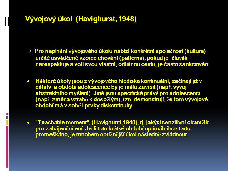 Vývojový úkol (Havighurst, 1948)   Pro napln ě ní vývojového úkolu nabízí konkrétní spole č nost (kultura) ur č ité osv ě d č ené vzorce chování (pa