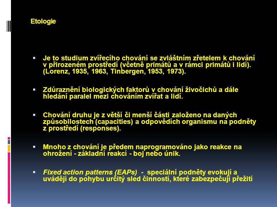Etologie Specifický význam mají programy, které: - facilitují reprodukci (námluvy, rituály, signalizace sexuálního zájmu), - maximalizují chování, které vede k přežití mladých jedinců (stavba hnízda, ukrytí mláďat v případě ohrožení)