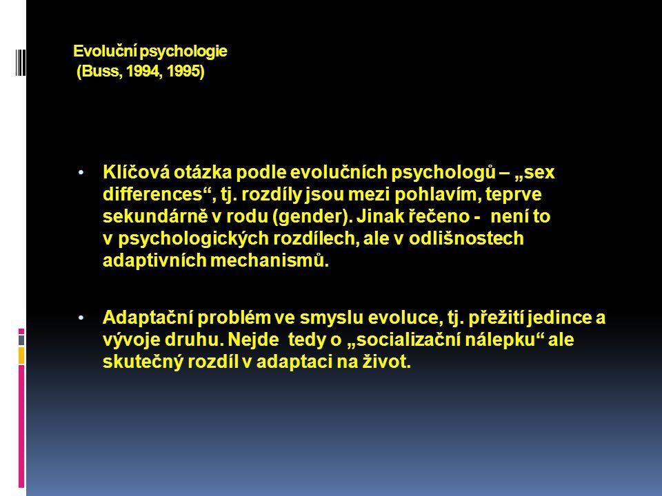 Evoluční psychologie Primární oblasti rozdílů definuje především sexuální selekce (soutěž).