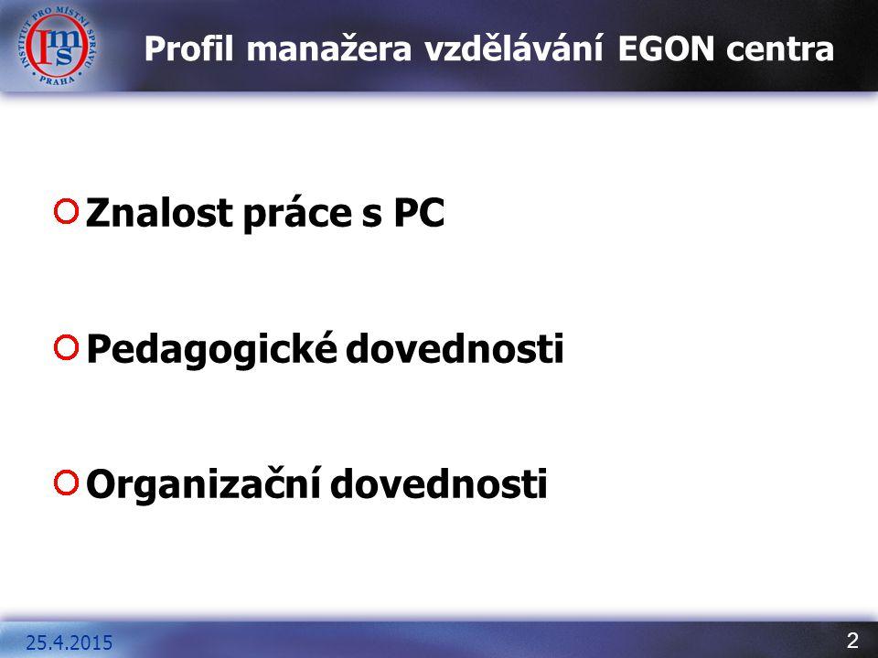 2 Profil manažera vzdělávání EGON centra Znalost práce s PC Pedagogické dovednosti Organizační dovednosti 25.4.2015