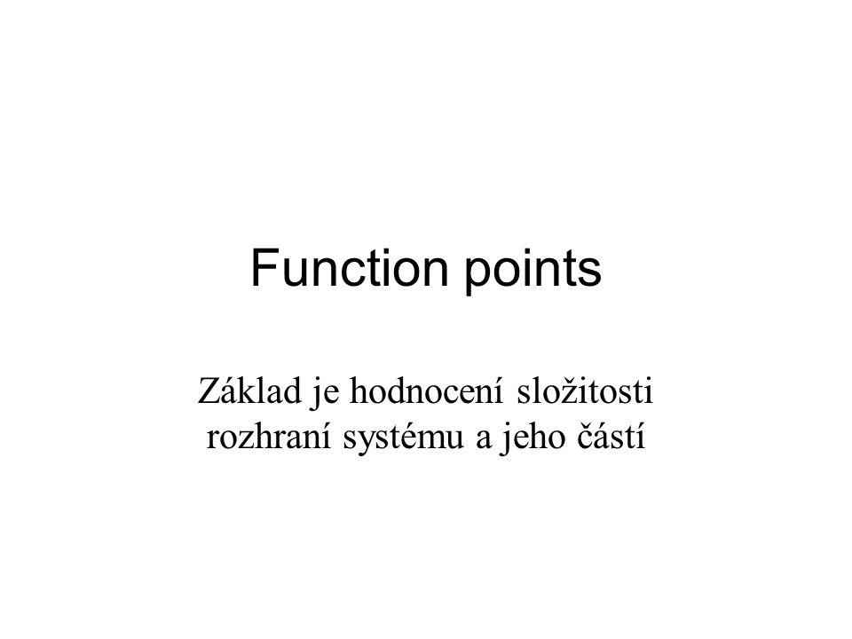 Function points Základ je hodnocení složitosti rozhraní systému a jeho částí