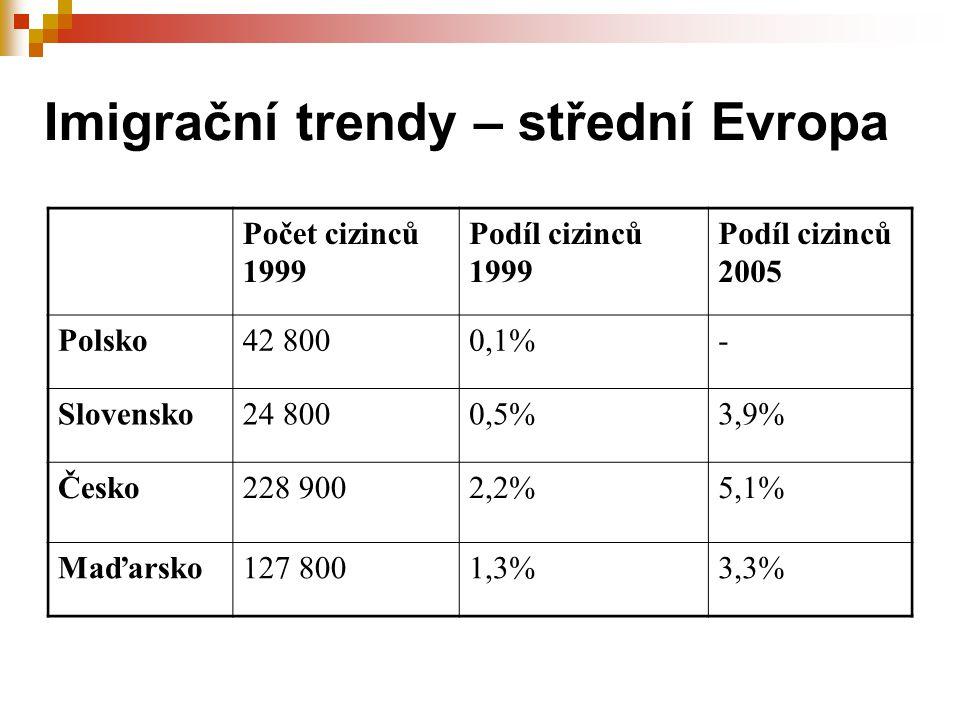 Imigrační trendy – střední Evropa Počet cizinců 1999 Podíl cizinců 1999 Podíl cizinců 2005 Polsko42 8000,1%- Slovensko24 8000,5%3,9% Česko228 9002,2%5