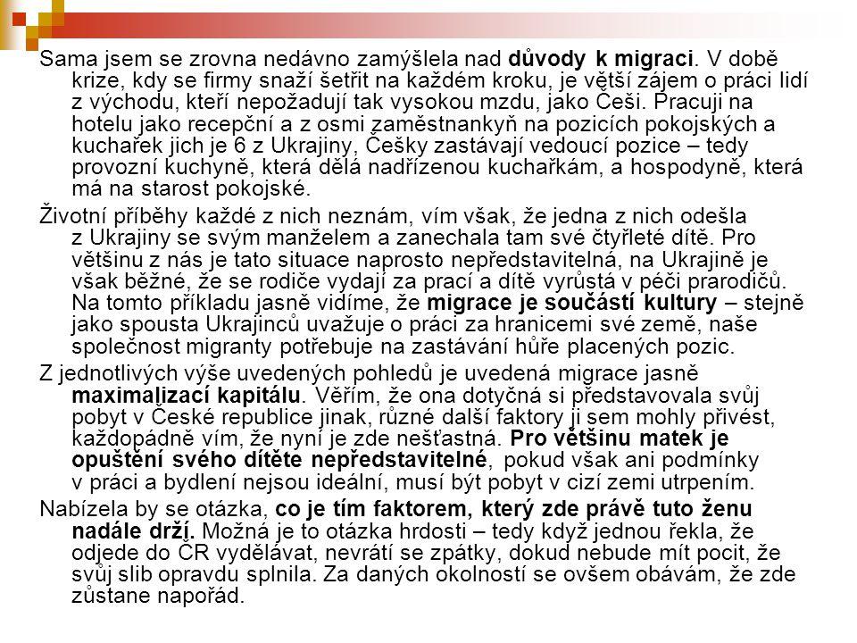 Témata Typy mezinárodní migrace  Historický přehled v oblasti mezinárodní migrace se zaměřením na poválečnou Evropu  Růst kulturní diverzity v Evropě jako důsledek migrace  Střední Evropa jako nový migrační prostor Migrace a Česká republika  Trendy v oblasti migrace v ČR  Migrační a integrační politika v Evropě a ČR  Česká azylová politika a legislativa, azylová procedura a její aktéři  Uprchlický tábor jako specifický kontext života uprchlíků