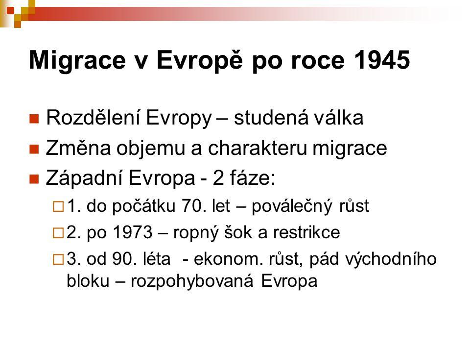Migrace v Evropě po roce 1945 Rozdělení Evropy – studená válka Změna objemu a charakteru migrace Západní Evropa - 2 fáze:  1. do počátku 70. let – po