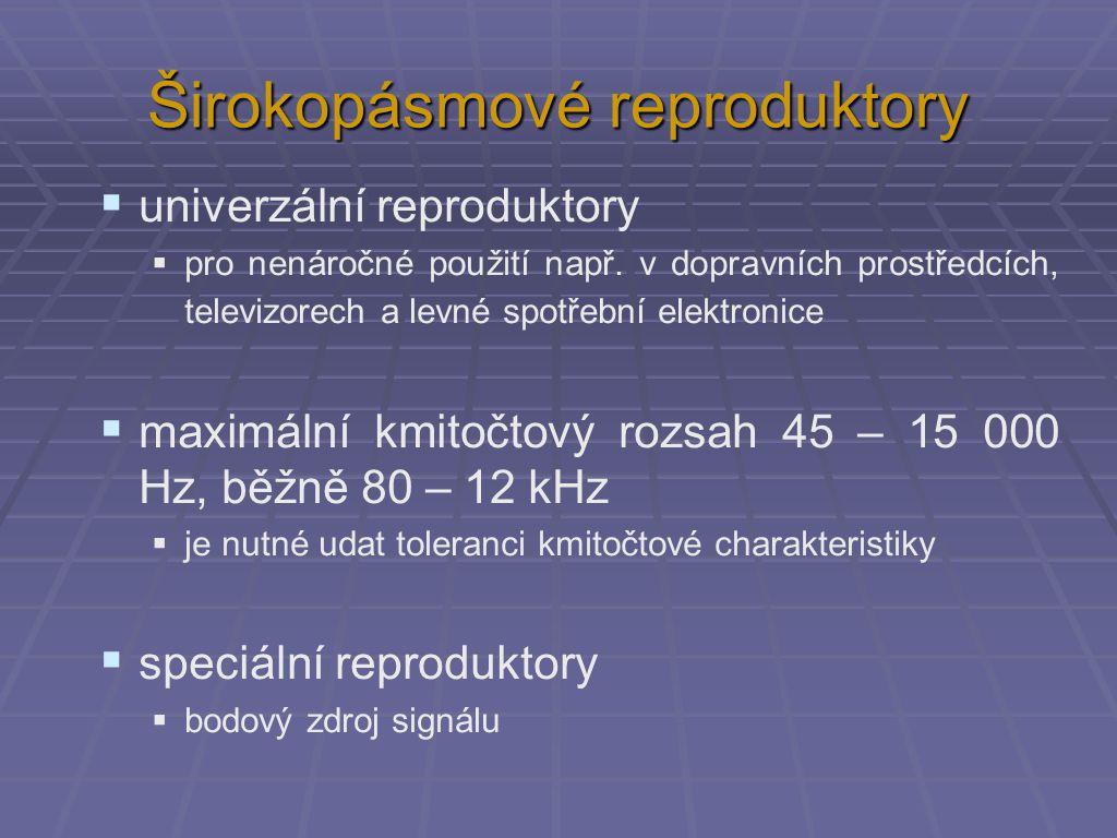 Širokopásmové reproduktory  univerzální reproduktory  pro nenáročné použití např.