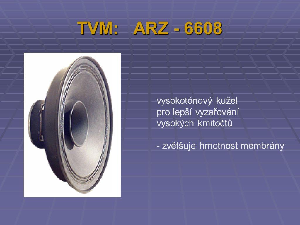 TVM: ARZ - 6608 vysokotónový kužel pro lepší vyzařování vysokých kmitočtů - zvětšuje hmotnost membrány