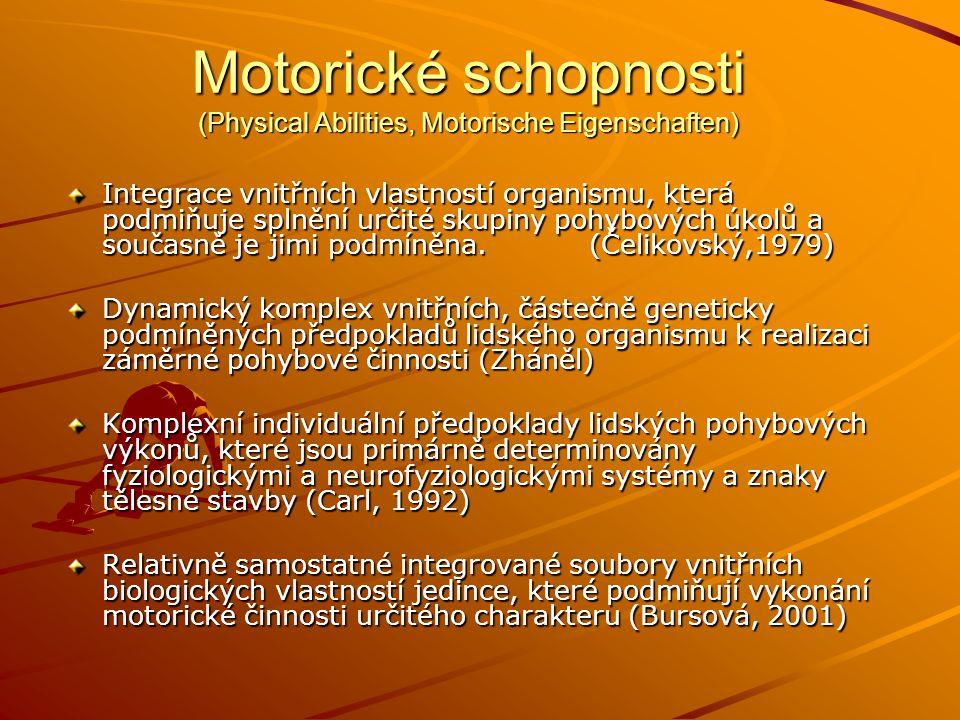 Motorické schopnosti (Physical Abilities, Motorische Eigenschaften) Integrace vnitřních vlastností organismu, která podmiňuje splnění určité skupiny pohybových úkolů a současně je jimi podmíněna.
