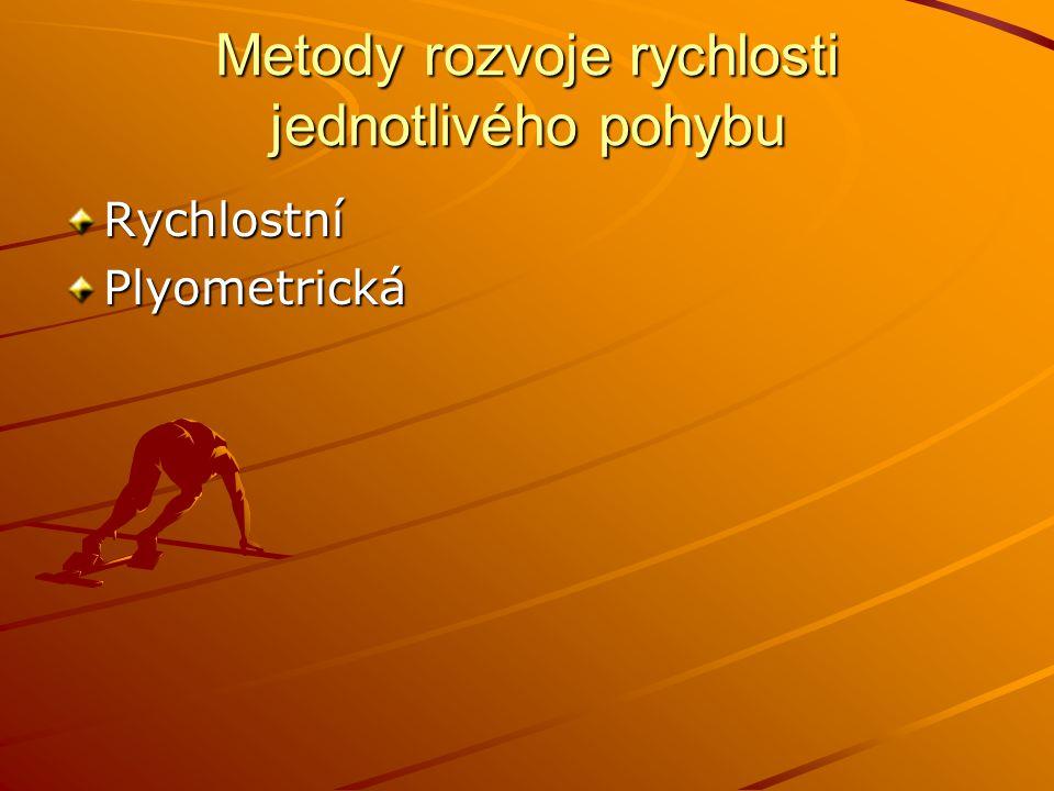 Metody rozvoje rychlosti jednotlivého pohybu RychlostníPlyometrická