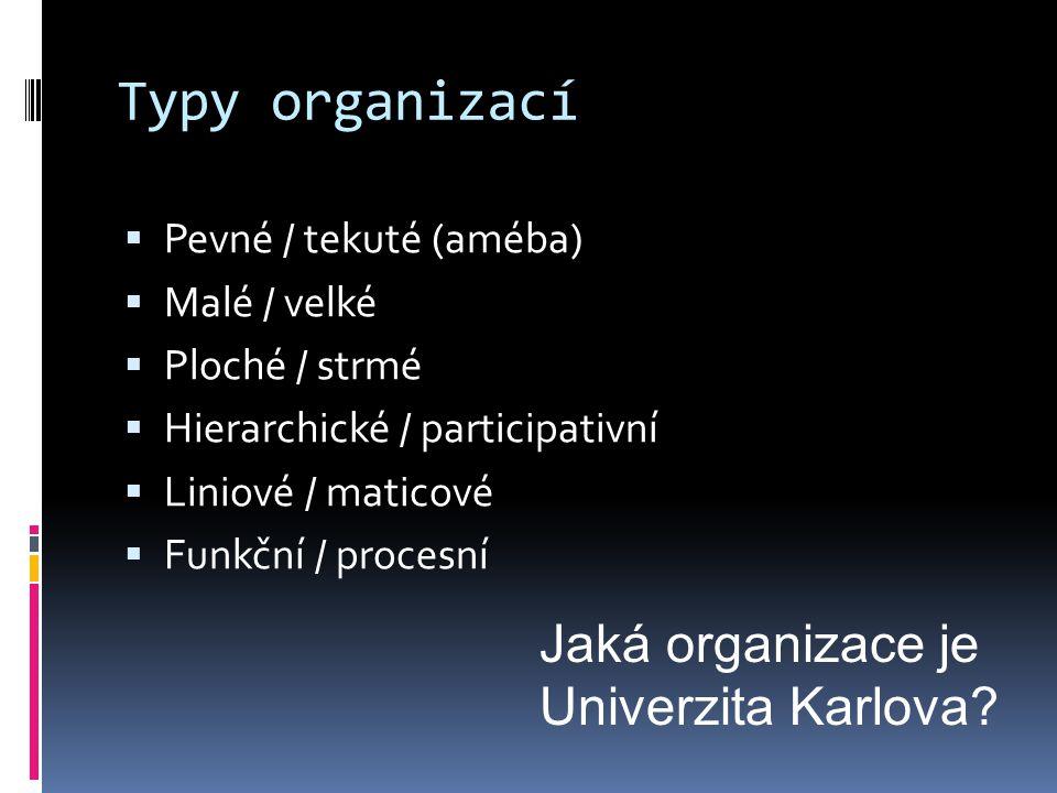 Typy organizací  Pevné / tekuté (améba)  Malé / velké  Ploché / strmé  Hierarchické / participativní  Liniové / maticové  Funkční / procesní Jaká organizace je Univerzita Karlova