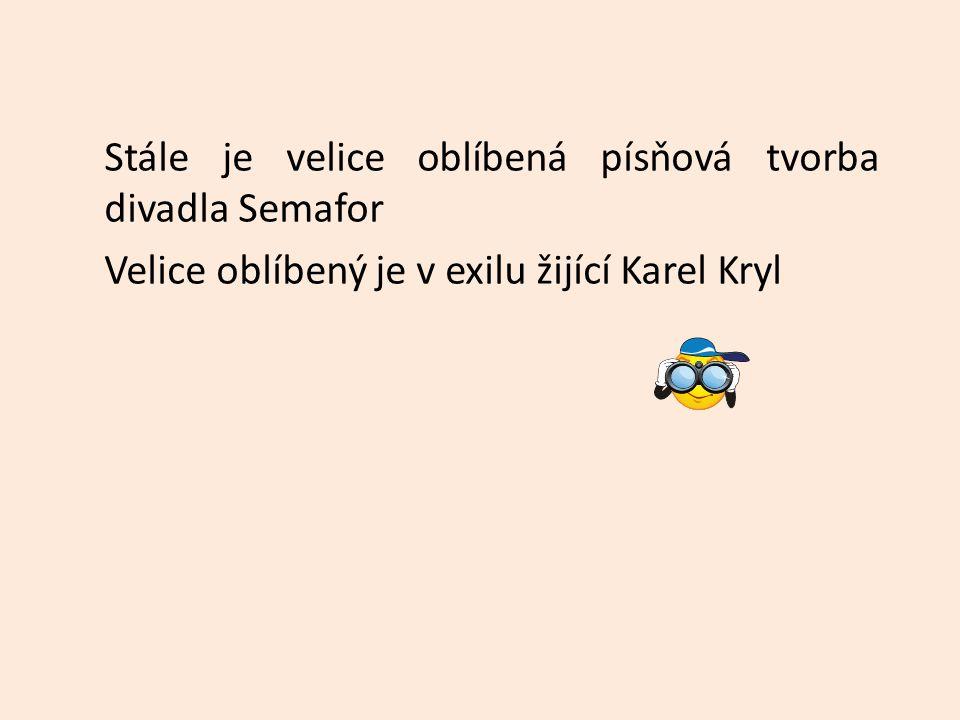 Stále je velice oblíbená písňová tvorba divadla Semafor Velice oblíbený je v exilu žijící Karel Kryl
