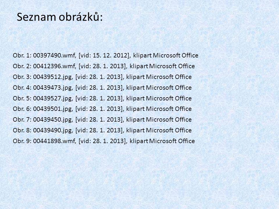 Seznam obrázků: Obr. 1: 00397490.wmf, [vid: 15. 12. 2012], klipart Microsoft Office Obr. 2: 00412396.wmf, [vid: 28. 1. 2013], klipart Microsoft Office
