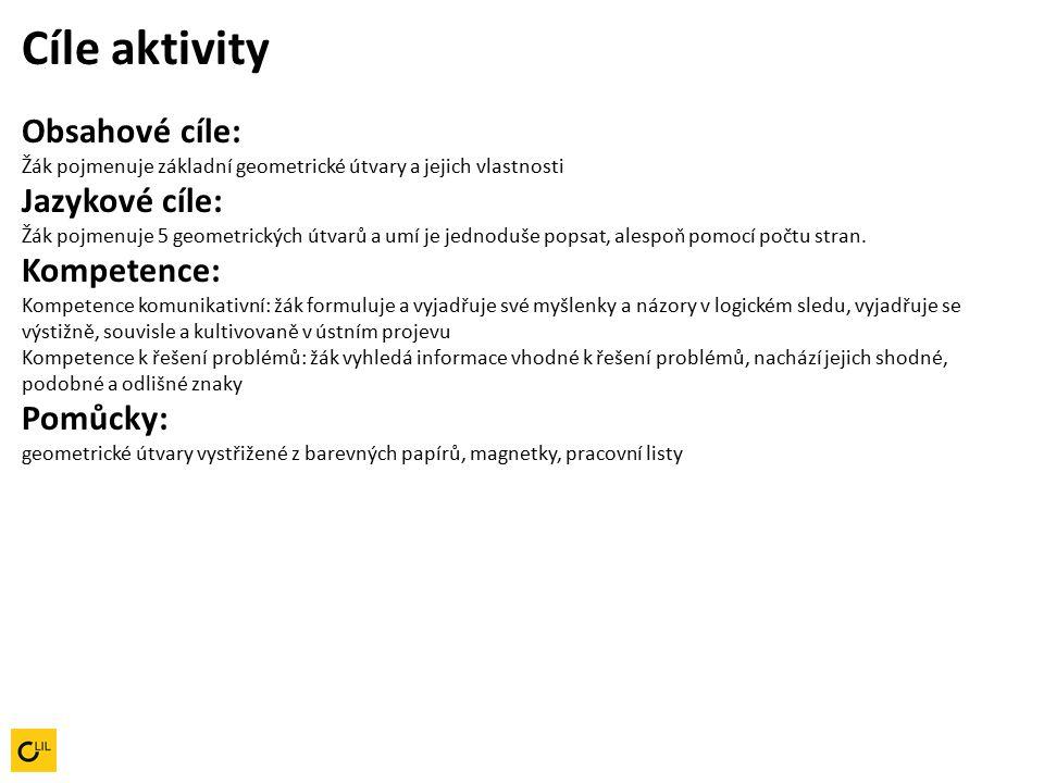 Cíle aktivity Obsahové cíle: Žák pojmenuje základní geometrické útvary a jejich vlastnosti Jazykové cíle: Žák pojmenuje 5 geometrických útvarů a umí je jednoduše popsat, alespoň pomocí počtu stran.