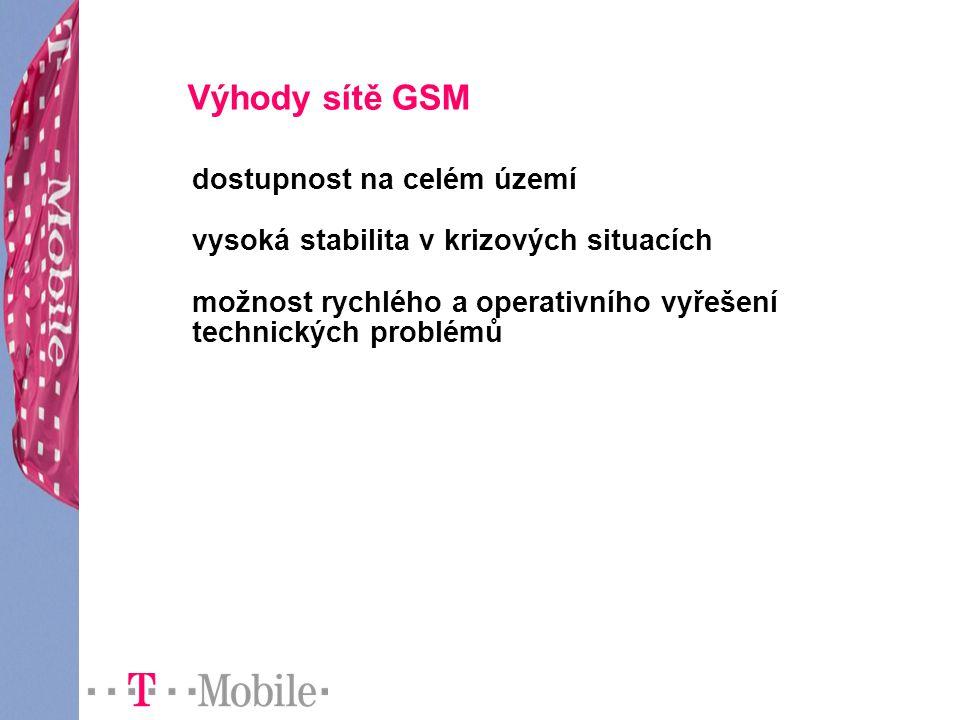 Výhody sítě GSM dostupnost na celém území vysoká stabilita v krizových situacích možnost rychlého a operativního vyřešení technických problémů