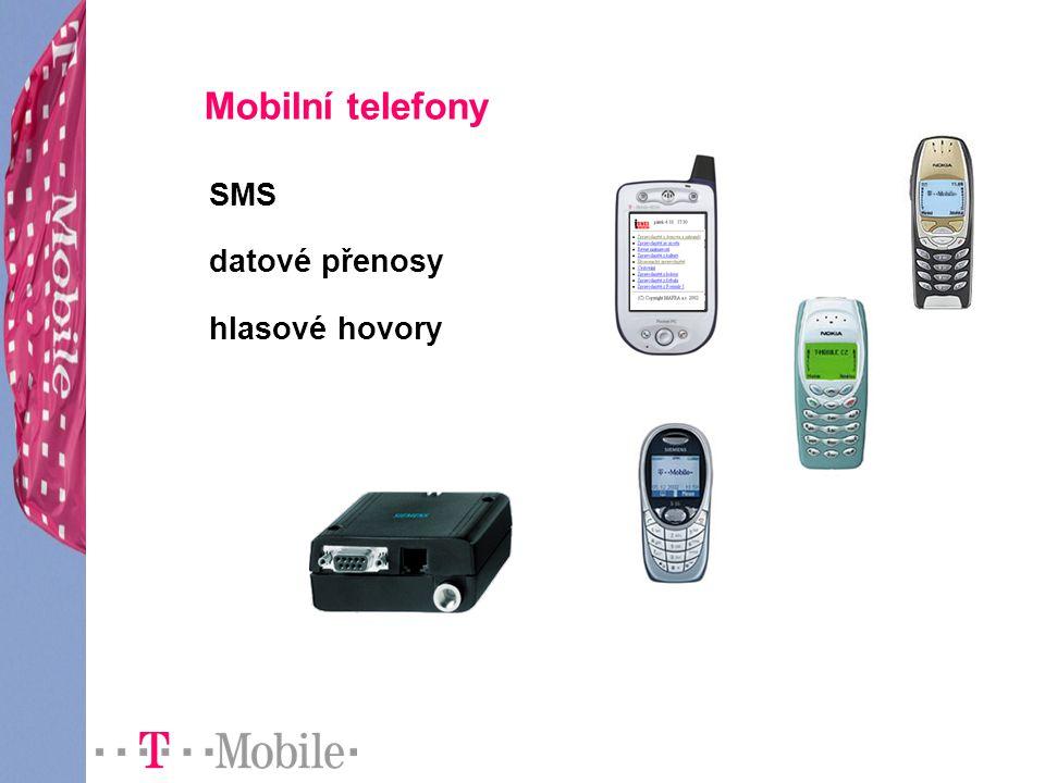 Mobilní telefony SMS datové přenosy hlasové hovory