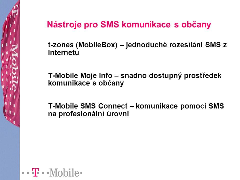 Nástroje pro SMS komunikace s občany t-zones (MobileBox) – jednoduché rozesílání SMS z Internetu T-Mobile Moje Info – snadno dostupný prostředek komun