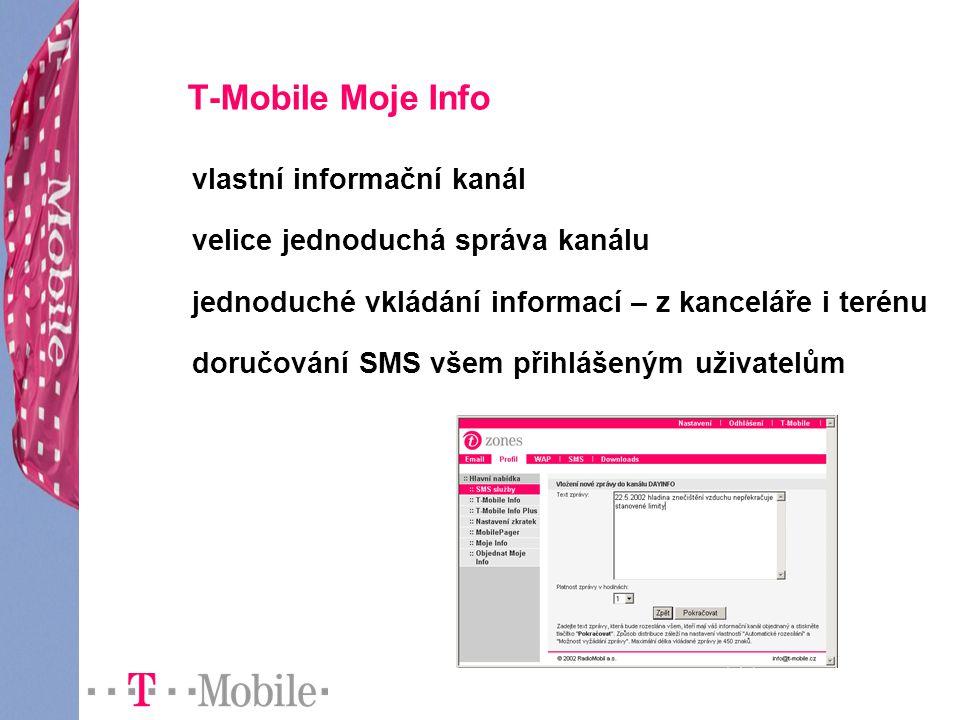 T-Mobile Moje Info vlastní informační kanál velice jednoduchá správa kanálu jednoduché vkládání informací – z kanceláře i terénu doručování SMS všem p