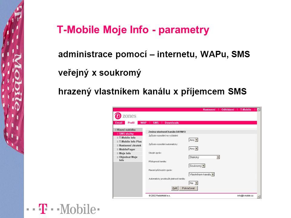T-Mobile Moje Info - parametry administrace pomocí – internetu, WAPu, SMS veřejný x soukromý hrazený vlastníkem kanálu x příjemcem SMS