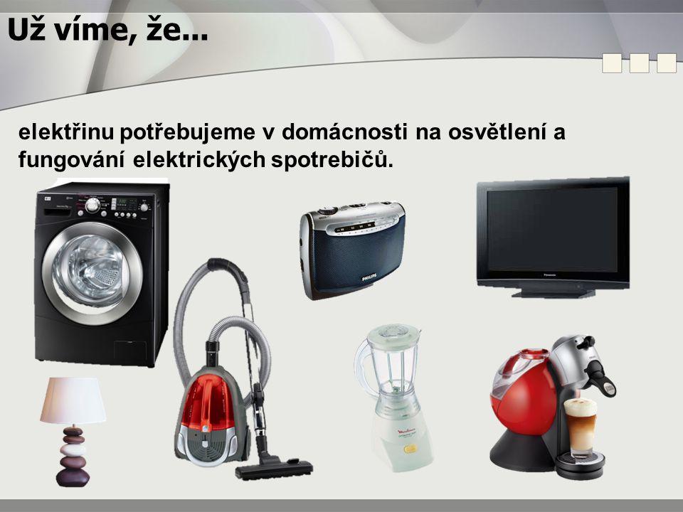 Už víme, že... elektřinu potřebujeme v domácnosti na osvětlení a fungování elektrických spotrebičů.