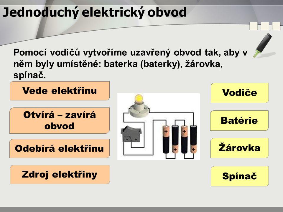 Jednoduchý elektrický obvod Pomocí vodičů vytvoříme uzavřený obvod tak, aby v něm byly umístěné: baterka (baterky), žárovka, spínač. Vodiče Batérie Žá