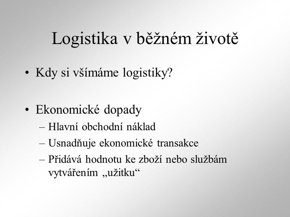 Logistika v běžném životě Kdy si všímáme logistiky? Ekonomické dopady –Hlavní obchodní náklad –Usnadňuje ekonomické transakce –Přidává hodnotu ke zbož