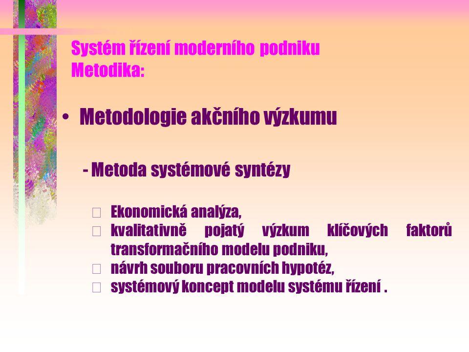 Systém řízení moderního podniku Cíle: Návrh modelu systému řízení - Respektování poslání multifunkčního zemědělství, - otevřená modulární architektura, - podpora dobrých podnikatelských praktik.