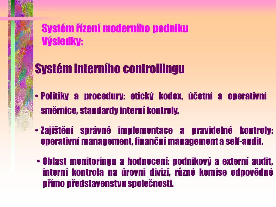 Systém řízení moderního podniku Výsledky: Strategický systém operační excellence Manažerský systém vytvořený na bázi Balanced Scorecard, doplněný syst