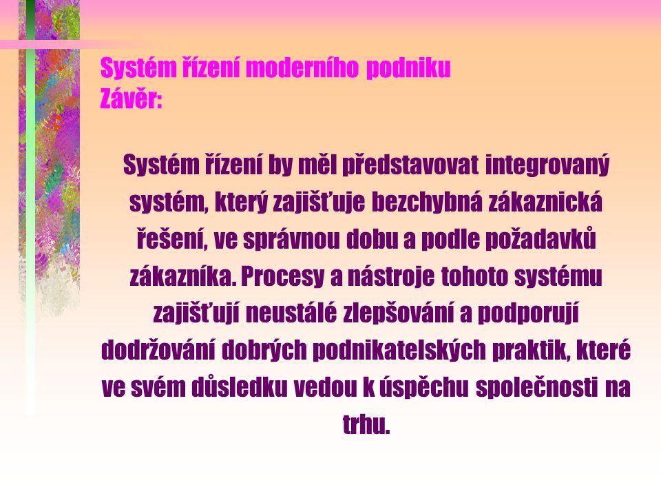 Systém řízení moderního podniku Výsledky: Integrovaný systém jakosti Systém jakosti na bázi revidované normy ISO 9000: 2000, eventuelně systém HACCP, systém environmentálního managementu na bázi ISO 14 000, resp.