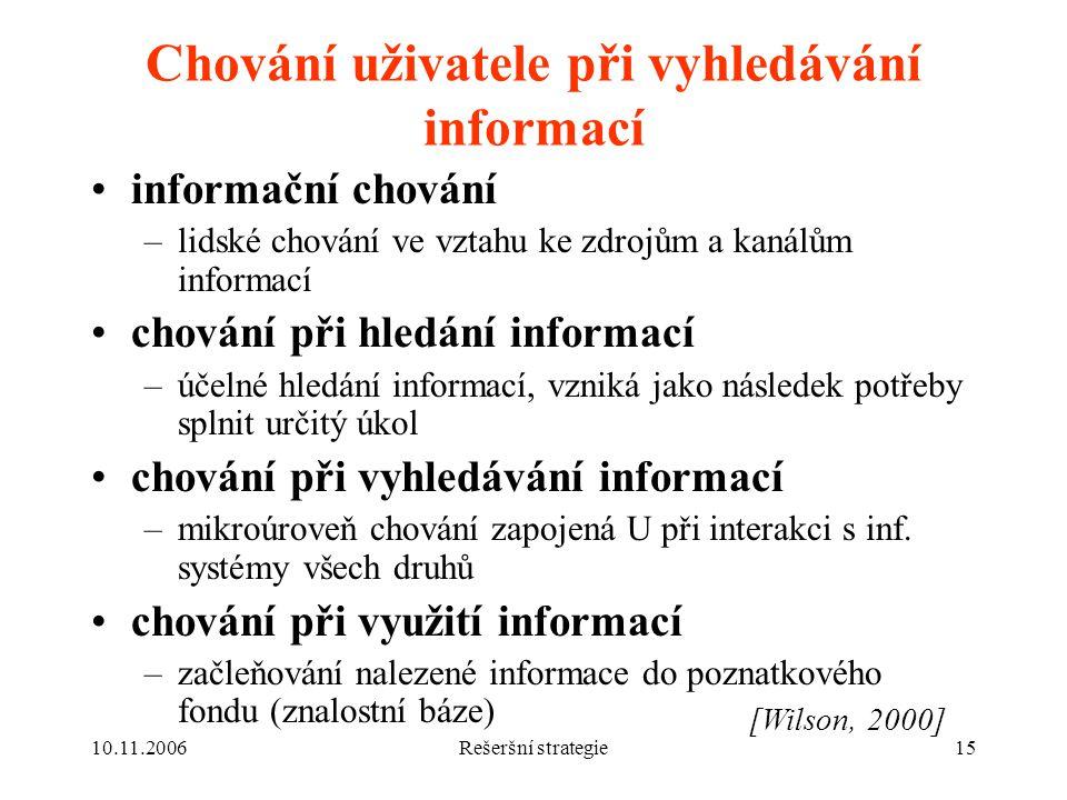 10.11.2006Rešeršní strategie15 Chování uživatele při vyhledávání informací informační chování –lidské chování ve vztahu ke zdrojům a kanálům informací chování při hledání informací –účelné hledání informací, vzniká jako následek potřeby splnit určitý úkol chování při vyhledávání informací –mikroúroveň chování zapojená U při interakci s inf.