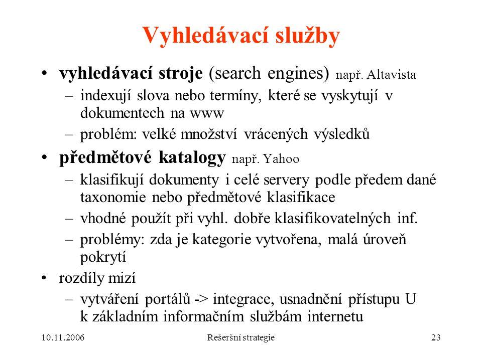 10.11.2006Rešeršní strategie23 Vyhledávací služby vyhledávací stroje (search engines) např.