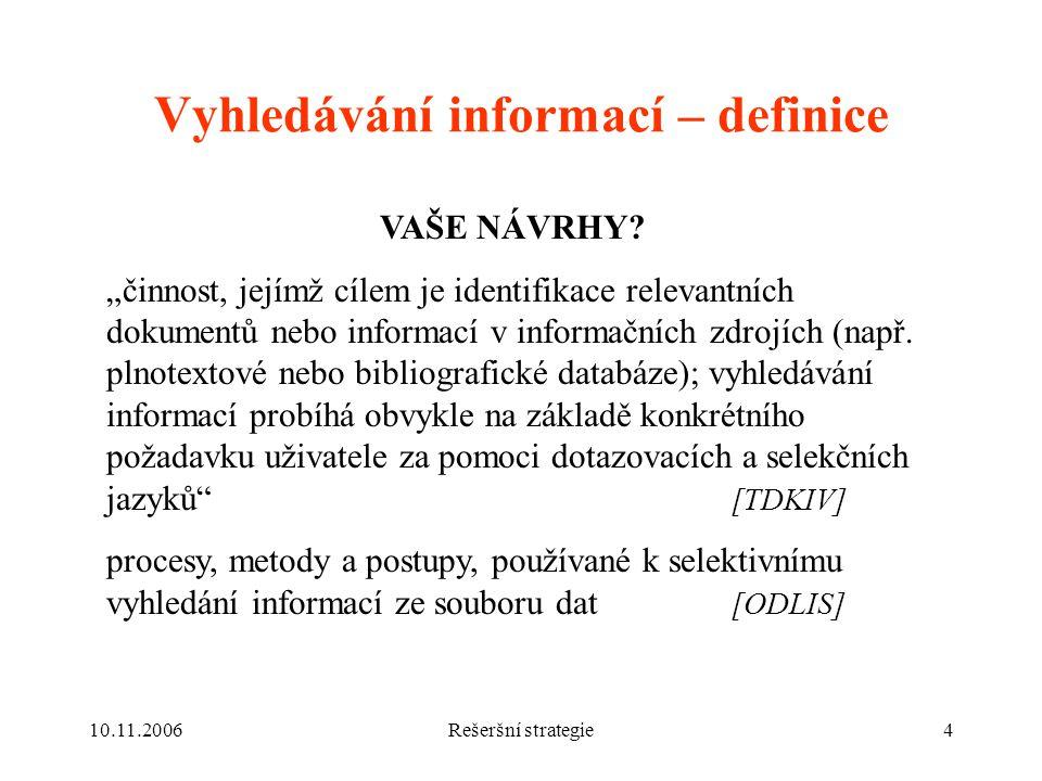 10.11.2006Rešeršní strategie4 Vyhledávání informací – definice VAŠE NÁVRHY.