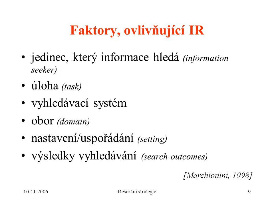 10.11.2006Rešeršní strategie9 Faktory, ovlivňující IR jedinec, který informace hledá (information seeker) úloha (task) vyhledávací systém obor (domain) nastavení/uspořádání (setting) výsledky vyhledávání (search outcomes) [Marchionini, 1998]