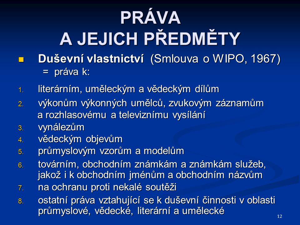 12 PRÁVA A JEJICH PŘEDMĚTY Duševní vlastnictví (Smlouva o WIPO, 1967) Duševní vlastnictví (Smlouva o WIPO, 1967) = práva k: = práva k: 1. literárním,