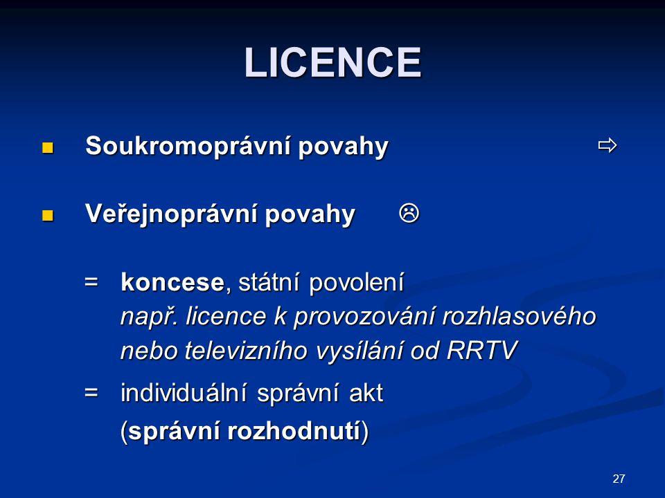 LICENCE Soukromoprávní povahy  Soukromoprávní povahy  Veřejnoprávní povahy  Veřejnoprávní povahy  = koncese, státní povolení = koncese, státní pov