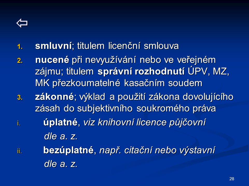  1. smluvní; titulem licenční smlouva 2. nucené při nevyužívání nebo ve veřejném zájmu; titulem správní rozhodnutí ÚPV, MZ, MK přezkoumatelné kasační