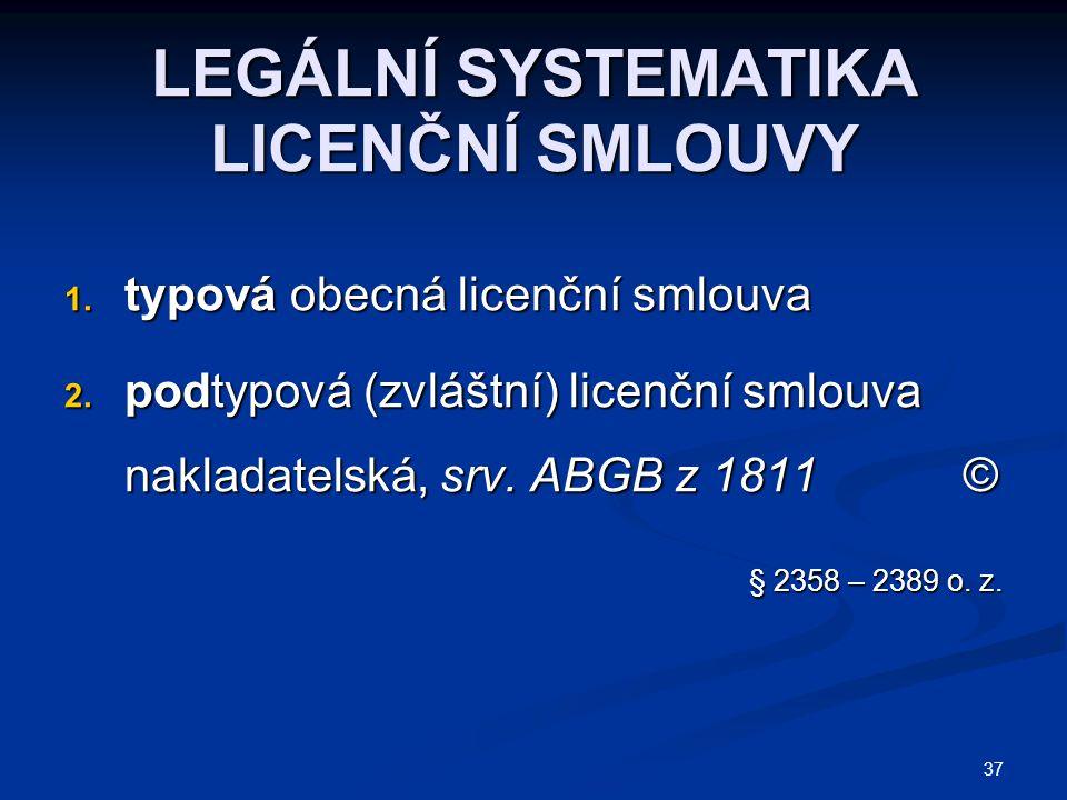 LEGÁLNÍ SYSTEMATIKA LICENČNÍ SMLOUVY 1. typová obecná licenční smlouva 2. podtypová (zvláštní) licenční smlouva nakladatelská, srv. ABGB z 1811 © § 23