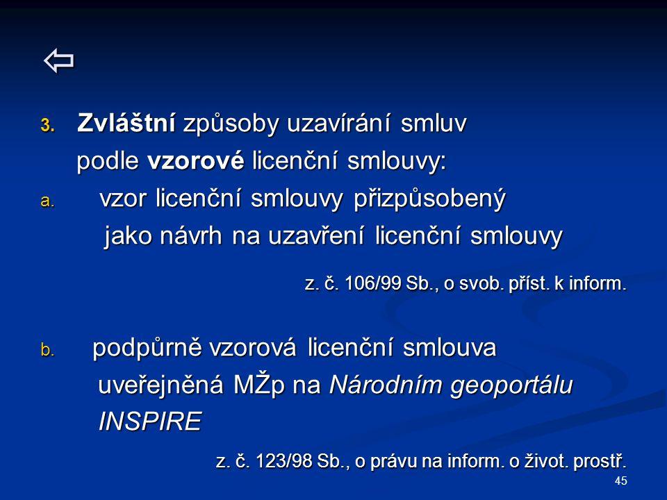  3. Zvláštní způsoby uzavírání smluv podle vzorové licenční smlouvy: podle vzorové licenční smlouvy: a. vzor licenční smlouvy přizpůsobený jako návrh