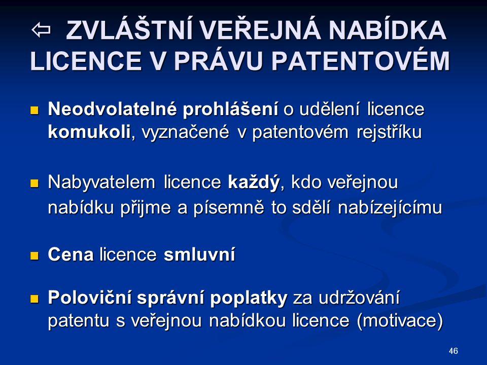  ZVLÁŠTNÍ VEŘEJNÁ NABÍDKA LICENCE V PRÁVU PATENTOVÉM Neodvolatelné prohlášení o udělení licence komukoli, vyznačené v patentovém rejstříku Neodvolate