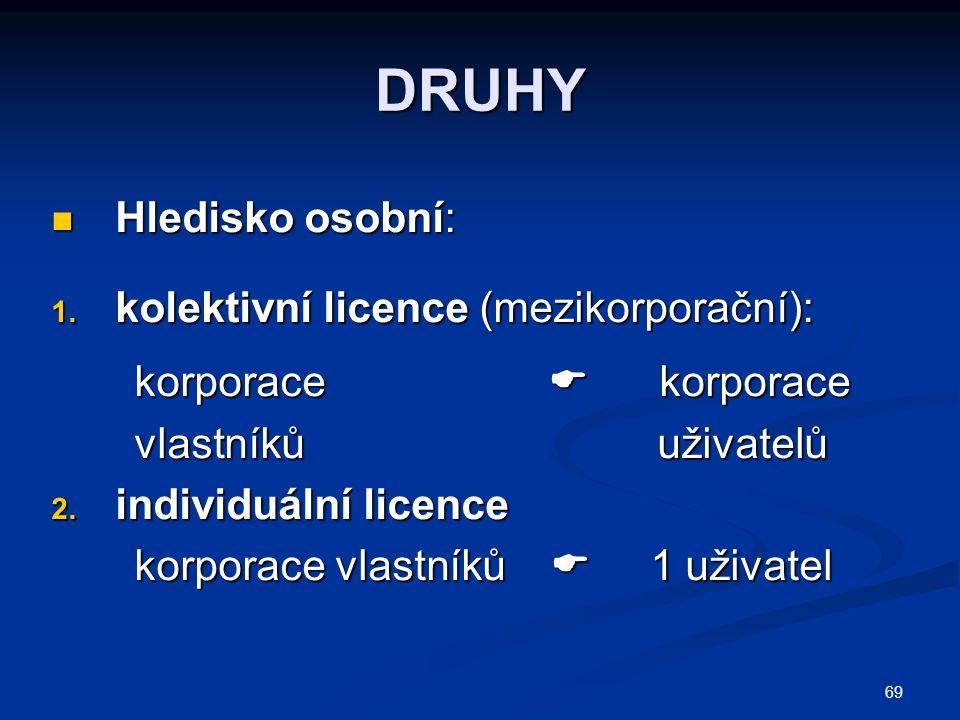 69 DRUHY Hledisko osobní: Hledisko osobní: 1. kolektivní licence (mezikorporační): korporace  korporace korporace  korporace vlastníků uživatelů vla