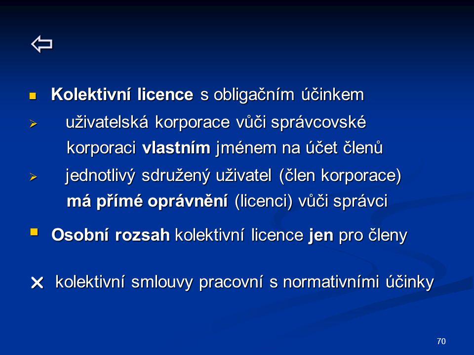 70  Kolektivní licence s obligačním účinkem Kolektivní licence s obligačním účinkem  uživatelská korporace vůči správcovské korporaci vlastním jméne
