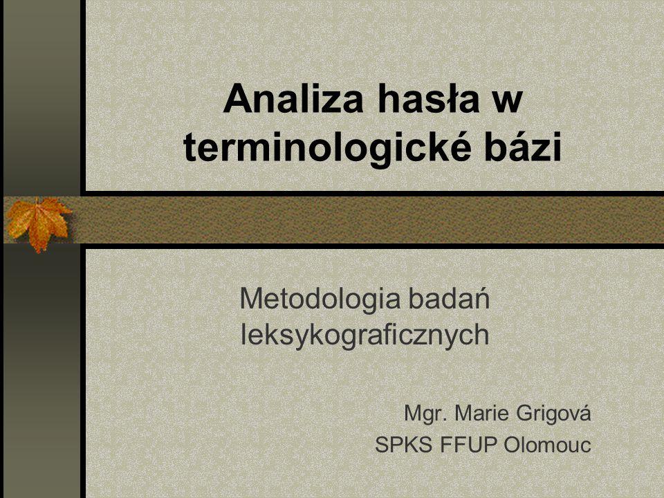 Analiza hasła w terminologické bázi Metodologia badań leksykograficznych Mgr.