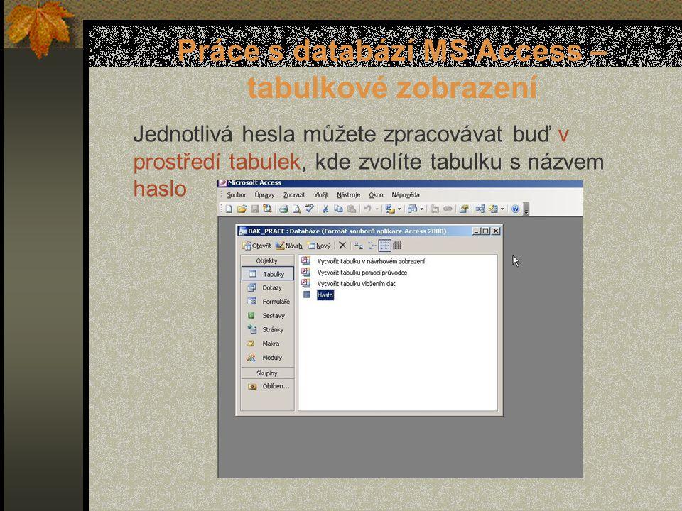 Práce s databází MS Access – tabulkové zobrazení Jednotlivá hesla můžete zpracovávat buď v prostředí tabulek, kde zvolíte tabulku s názvem haslo