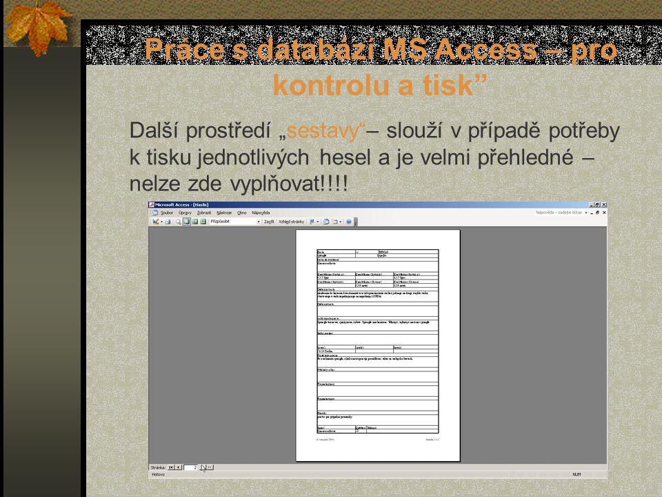 """Práce s databází MS Access – pro kontrolu a tisk Další prostředí """"sestavy – slouží v případě potřeby k tisku jednotlivých hesel a je velmi přehledné – nelze zde vyplňovat!!!!"""