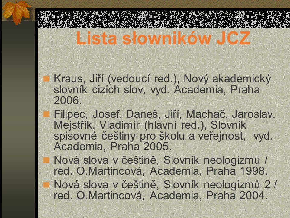 Lista słowników JCZ Kraus, Jiří (vedoucí red.), Nový akademický slovník cizích slov, vyd.