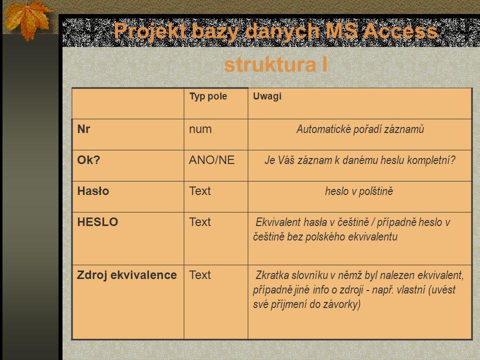 Projekt bazy danych MS Access struktura I Typ poleUwagi Nrnum Automatické pořadí záznamů Ok ANO/NE Je Váš záznam k danému heslu kompletní.