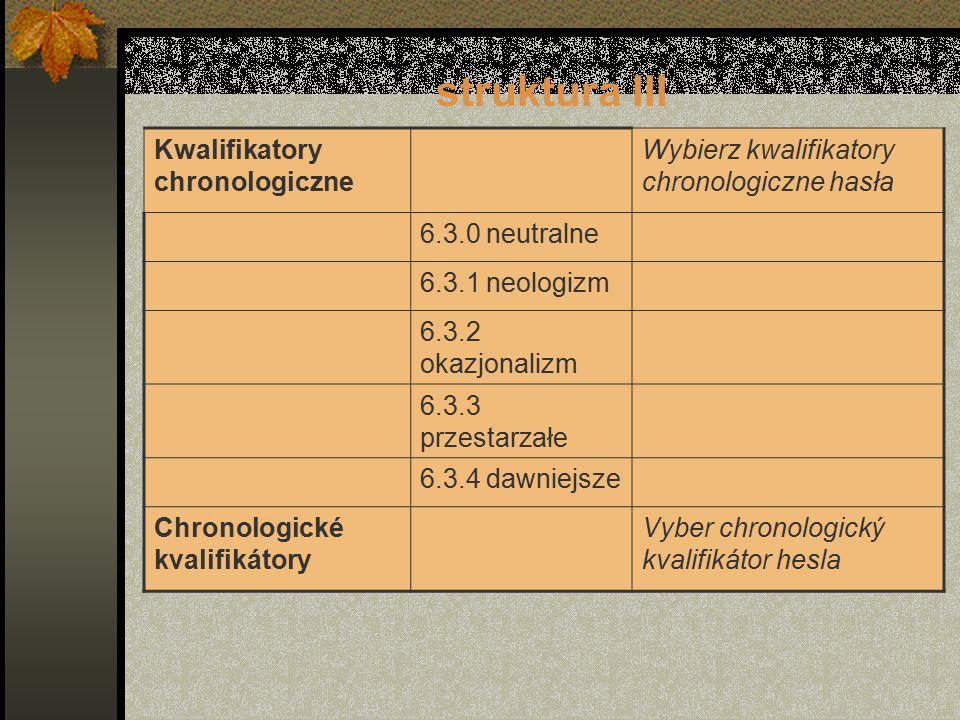 struktura III Kwalifikatory chronologiczne Wybierz kwalifikatory chronologiczne hasła 6.3.0 neutralne 6.3.1 neologizm 6.3.2 okazjonalizm 6.3.3 przestarzałe 6.3.4 dawniejsze Chronologické kvalifikátory Vyber chronologický kvalifikátor hesla
