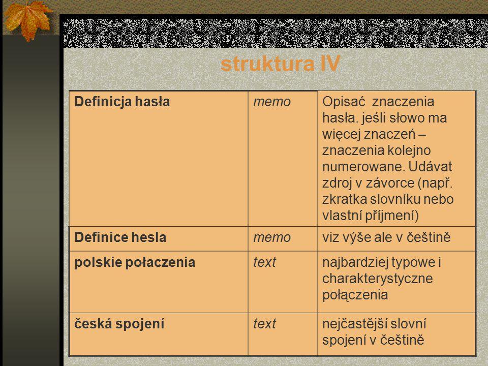 struktura IV Definicja hasłamemoOpisać znaczenia hasła.
