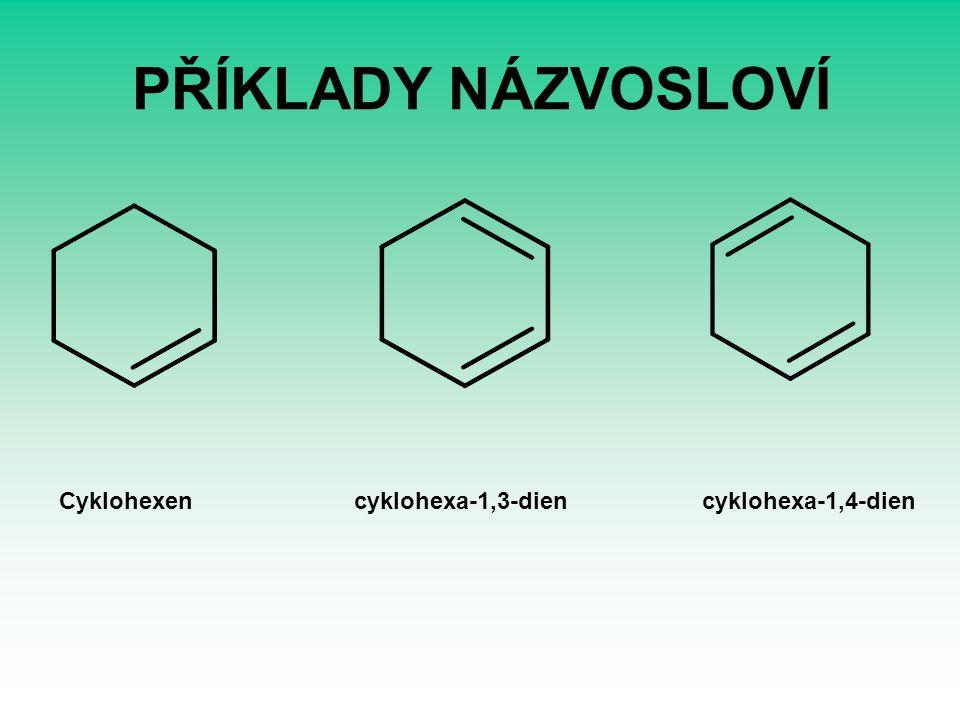 PŘÍKLADY NÁZVOSLOVÍ Cyklohexen cyklohexa-1,3-dien cyklohexa-1,4-dien