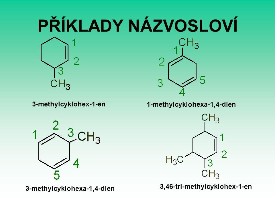 PŘÍKLADY NÁZVOSLOVÍ 3-methylcyklohex-1-en 1-methylcyklohexa-1,4-dien 3-methylcyklohexa-1,4-dien 3,46-tri-methylcyklohex-1-en