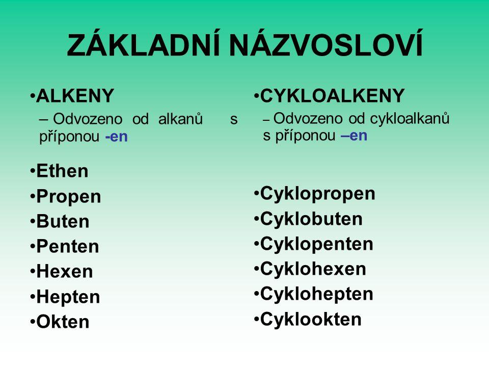 ZÁKLADNÍ NÁZVOSLOVÍ ALKENY – Odvozeno od alkanů s příponou -en Ethen Propen Buten Penten Hexen Hepten Okten CYKLOALKENY – Odvozeno od cykloalkanů s příponou –en Cyklopropen Cyklobuten Cyklopenten Cyklohexen Cyklohepten Cyklookten